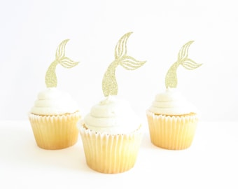 Mermaid Tail Cupcake Toppers - Mermaid Party - Mermaid Tail Party Decoration