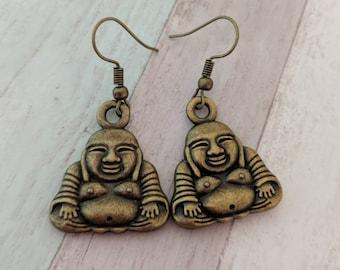 Buddha earrings, Buddha jewelry, yoga earrings, yoga jewellery, zen earrings, spiritual earrings, meditation gift, gifts for her