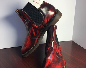 RARE Vintage DOC Martens- George Cox Chelsea Boots! Red and Black. NEW with Tags- U.K. 10/Eu 44/U.S. 10.5