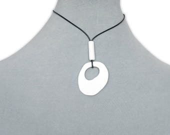 Minimalist ceramic necklace, Handmade porcelain pendant, Ceramic jewelry