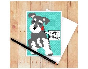 Schnauzer Birthday Card, Miniature Schnuazer Thank You Card, Dog Greeting Card, Schnauzer Art, Schnauzer Artwork, Get Well Card