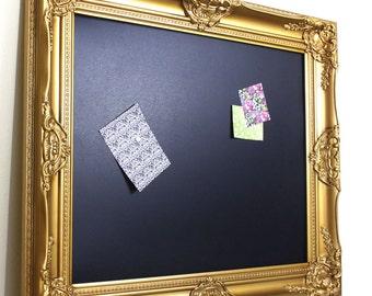Gold Framed Chalkboard, Magnetic Bulletin Board, Gold Wedding Decor, Kitchen Chalkboard Menu Board, Blackboard 16x20