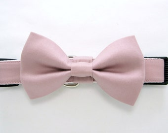 Wedding dog collar-Rose Pink Dog Collars with bow tie set  (Mini,X-Small,Small,Medium ,Large or X-Large Size)- Adjustable
