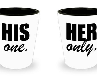 Couple Shotglass, Romantic Matching Gift Set, Her Only His One , For Boyfriend Girlfriend Husband Wife, Couples Fiancee Dating Engagement