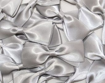 set of 10 silver satin bows