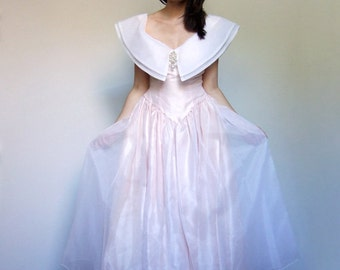 80s Pale Pink Dress Sheer White Large Peter Pan Collar Party Dress Pearl Princess Gown Maxi Dress - Extra Small XXS XS