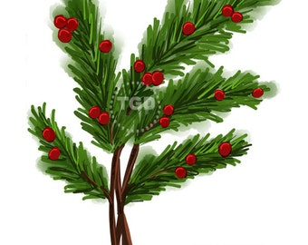 Pine Branch with Berries watercolor style Original Art Download  - holiday clip art, holiday graphic, pine branch art, pine clip art