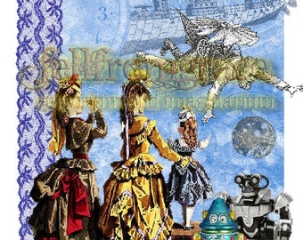 printable - download now - whimsical steampunk collage  - Original  Card Artwork