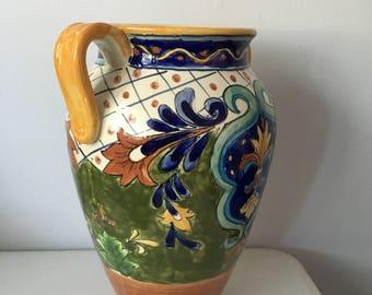Vintage exotic hand painted vase---vintage pottary---Hand Painted Caltagirone  vase