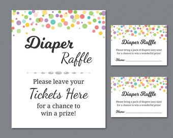 Rainbow Diaper Raffle Tickets Printable, Diaper Raffle Sign, Color Dots Baby Shower Games, Diapers, Colors, Instant Download, B010