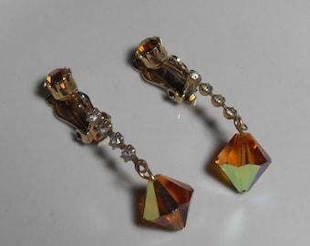 Dangle Yellow rhinestone earrings, Gold clip on drop and dangle yellow crystal rhinestone night out jewelry, gift for her, Gingerslittlegems