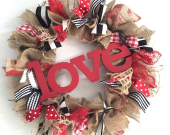 Valentine Wreath Red and Black Wreath Valentine's Wreath Black and White Striped Wreath Love Wreath February Wreath