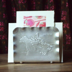 Napkin Holder Letter Mail Caddy Aluminum Ware Aluminumware Vintage 50s Home  Decor Desk Top Map Of