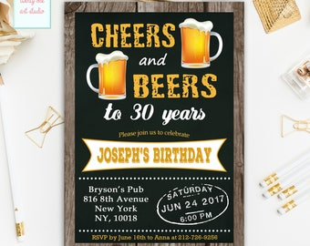 Cheers and Beers Birthday Invitation, Cheers and Beers to 30 Years Birthday Invite, Chalkboard Cheers and Beers Birthday, ANY AGE