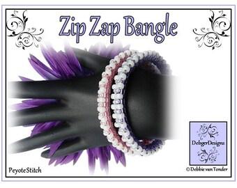 Beading Pattern, Tutorial, Bangle - ZIP ZAP