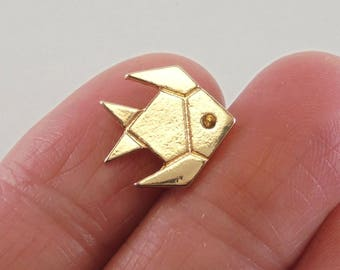 3 Origami Angelfish charms, 14x13mm, Gold-Plated