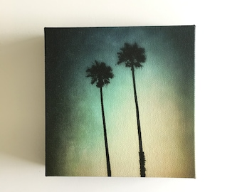Canvas print of original fine art photo, 6 x 6, ready to hang, professionally printed, palm tree art, small wall art, gift under 50