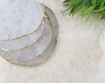 Clear Quartz Crystal Agate Coasters