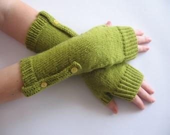 Wool Arm Warmers, Fingerless Gloves Woman, Fingerless Mittens, Green Knitted Hand Warmers, Knit Gloves, Wool Wrist Warmers, Winter Gloves