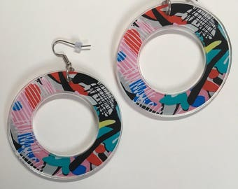 80s Style Abstract Acrylic Hoop Earrings