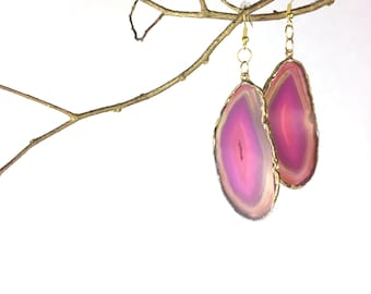 Hot Pink/Fuchsia Druzy Agate Slice Earrings Geode Raw Stone Great Gift