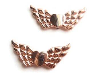 2 Rose Gold Color Heart with Angel  Wings Links, Jewelry Making Supply, Unfading Plated alloy