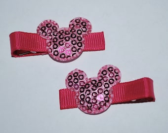 Mickey Mouse Hot Pink Sequin Hair Clips - Buy 3 Items, Get 1 Free