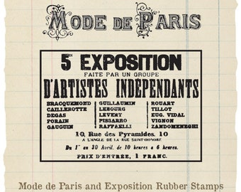 Mode de Paris and Exposition unmounted rubber stamps (2 stamps)