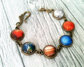 Planet bracelet, space jewelry, astronomy bracelet, solar system bracelet, universe, geek jewelry, earth jupiter march moon, gift idea