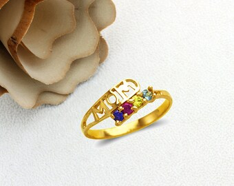 Mother's Day Gift 14K Real Solid Gold Mom Ring With Blue Ruby Citrine Aqua Marine Color CZ Band Size 5 to 9