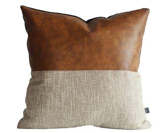 Pais faux cuir housse tan coussin d coratif pour canap jet - Housse canape simili cuir ...