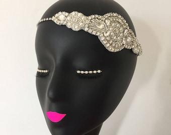 Rhinestone Diamante Bridal Headpiece Tiara Flapper 20s Gatsby Headband Wedding