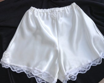 Satin French Knickers Hand Made French Knickers Bloomers Ivory satin knickers Handmade knickers