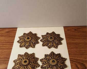 4 Vintage Metal Rosettes, Crafting, Home Decor, Cottage Decor, Steampunk