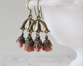 Art Nouveau Chandelier Earrings with Salmon Pink Flowers