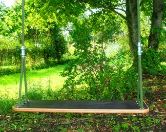 Large wood swing for 2 persons, 3.3feet (1 m) wide large swing for siblings both kids and adults, adjustable length ropes,outdoor tree swing