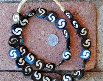 Ghana Batik Bone Beads: Round  22mm