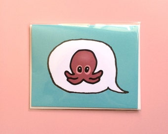 Emoji Cards! - Octopus - Teal Background