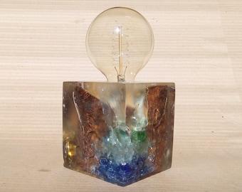Table lamp, epoxy resin lamp, handmade lampe.