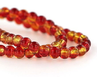 135 Crackle Glass Beads in Rich Orange & Yellow - 6mm - 1 Strand - BD203