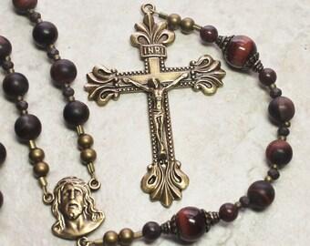 Men's Red Tiger Eye Catholic Rosary; Man's Brass Rosary