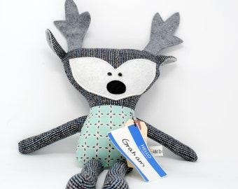 Deer-Deer Stuffed Animal-Deer Plush-Deer Softie-Deer Lovey-Deer Toy-UpCycled-Repurposed-Hand Sewn Toy-Toddler Gift-Baby Gift-Woodland