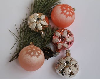 Snow-covered balls Christmas Tree Ornaments Collectible USSR Glass Toys Christmas decorations Christmas ornaments 23