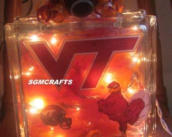 Illuminated Virginia Tech Glass Block VT Hokies Lighted Glass Block VT Hokies Night Light Virginia Tech Lamp