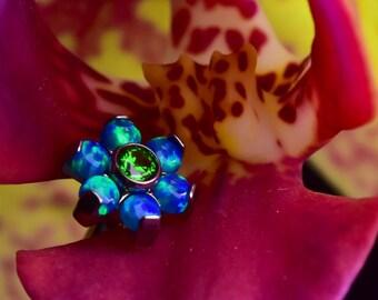 Sea Dream Opal & CZ Flower Labret/Barbell 1.2mm