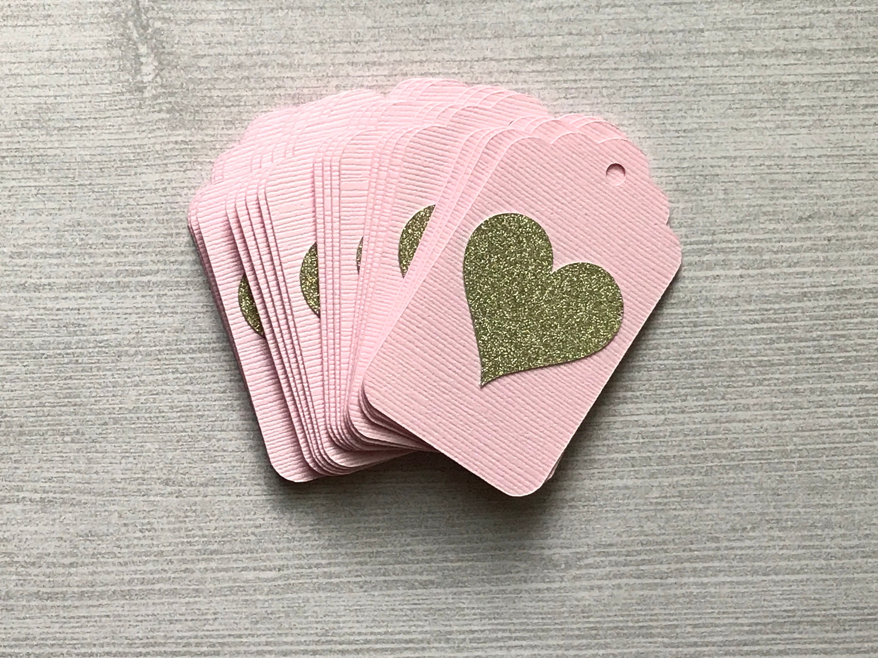 Blush Pink and Gold Tags, Bridal Shower Favor Tags, Heart Gift Tags ...
