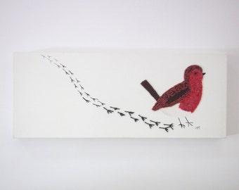 mixed media canvas - canvas wall art - wall hanging snow - robin wall hanging - bird wall hanging - robin wall art - long narrow art