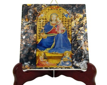 Catholic decor - Virgin of Humility icon on ceramic tile - reinassance art - from a religious painting by Fra Angelico - religious icons
