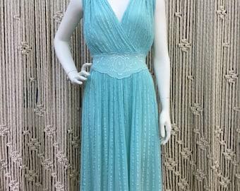 Gorgeous light blue 1970's bohemian gauze dress