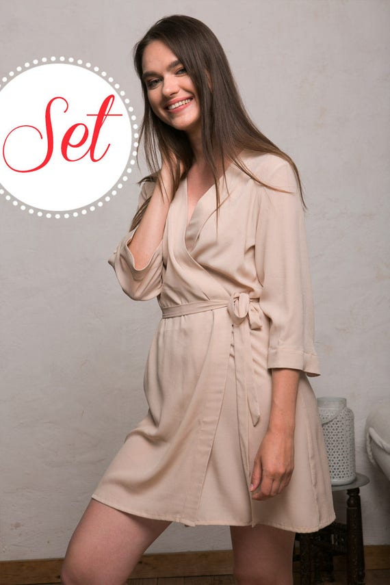 Beige Bridesmaid Robes Set Cream Dressing Gowns Set of 3 5